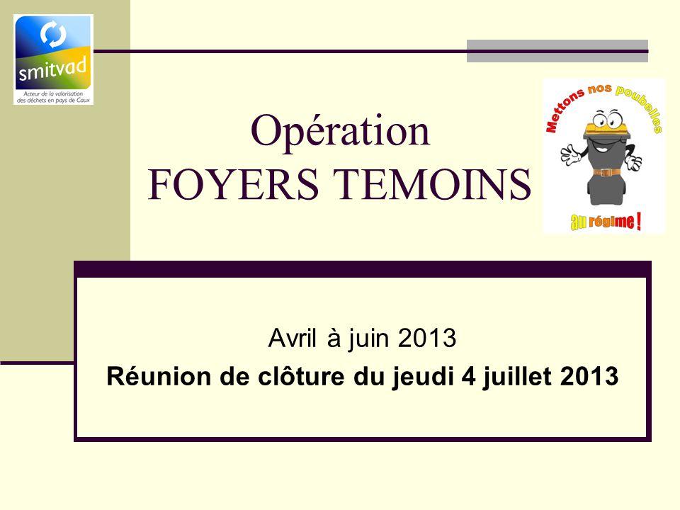 Opération FOYERS TEMOINS Avril à juin 2013 Réunion de clôture du jeudi 4 juillet 2013