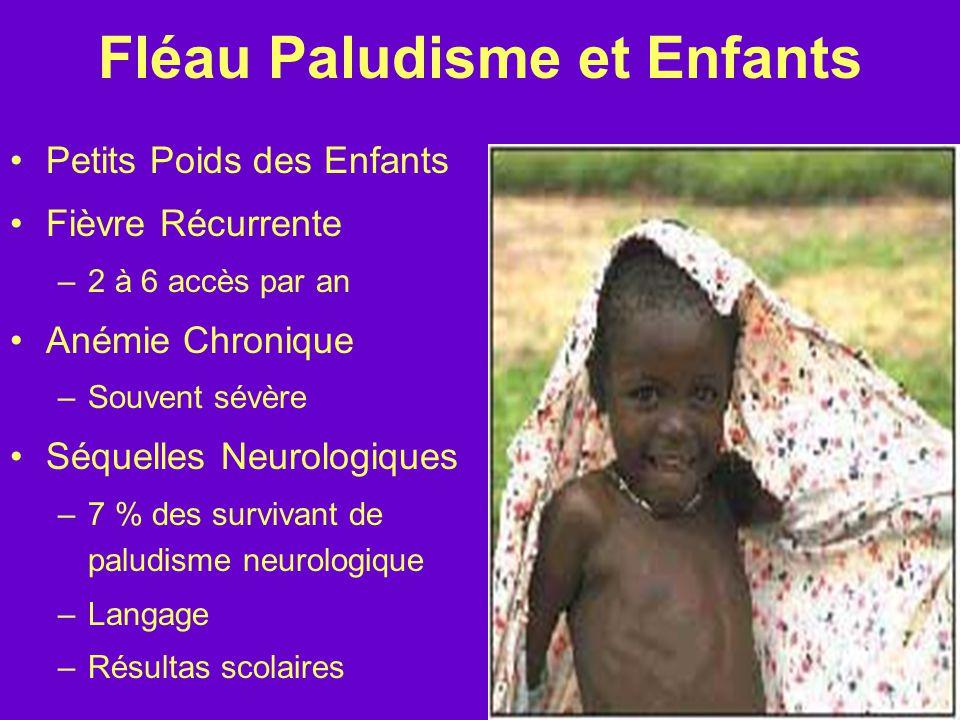 Fléau Paludisme et Enfants Petits Poids des Enfants Fièvre Récurrente –2 à 6 accès par an Anémie Chronique –Souvent sévère Séquelles Neurologiques –7 % des survivant de paludisme neurologique –Langage –Résultas scolaires