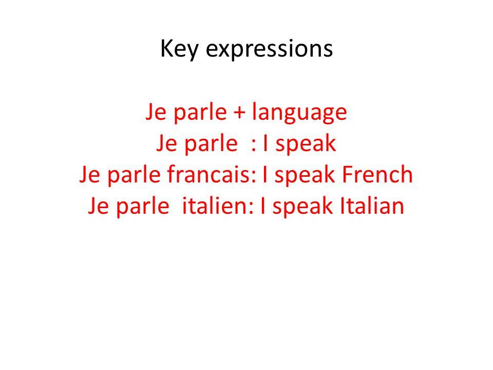 Key expressions Je parle + language Je parle : I speak Je parle francais: I speak French Je parle italien: I speak Italian