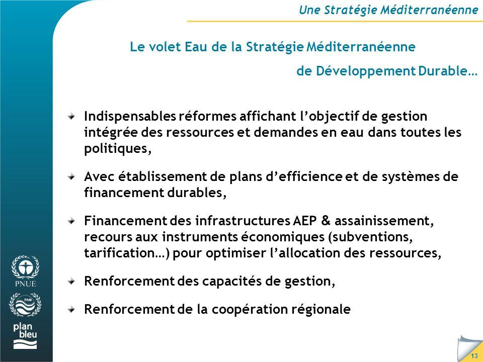13 Le volet Eau de la Stratégie Méditerranéenne de Développement Durable… Une Stratégie Méditerranéenne Indispensables réformes affichant l'objectif de gestion intégrée des ressources et demandes en eau dans toutes les politiques, Avec établissement de plans d'efficience et de systèmes de financement durables, Financement des infrastructures AEP & assainissement, recours aux instruments économiques (subventions, tarification…) pour optimiser l'allocation des ressources, Renforcement des capacités de gestion, Renforcement de la coopération régionale