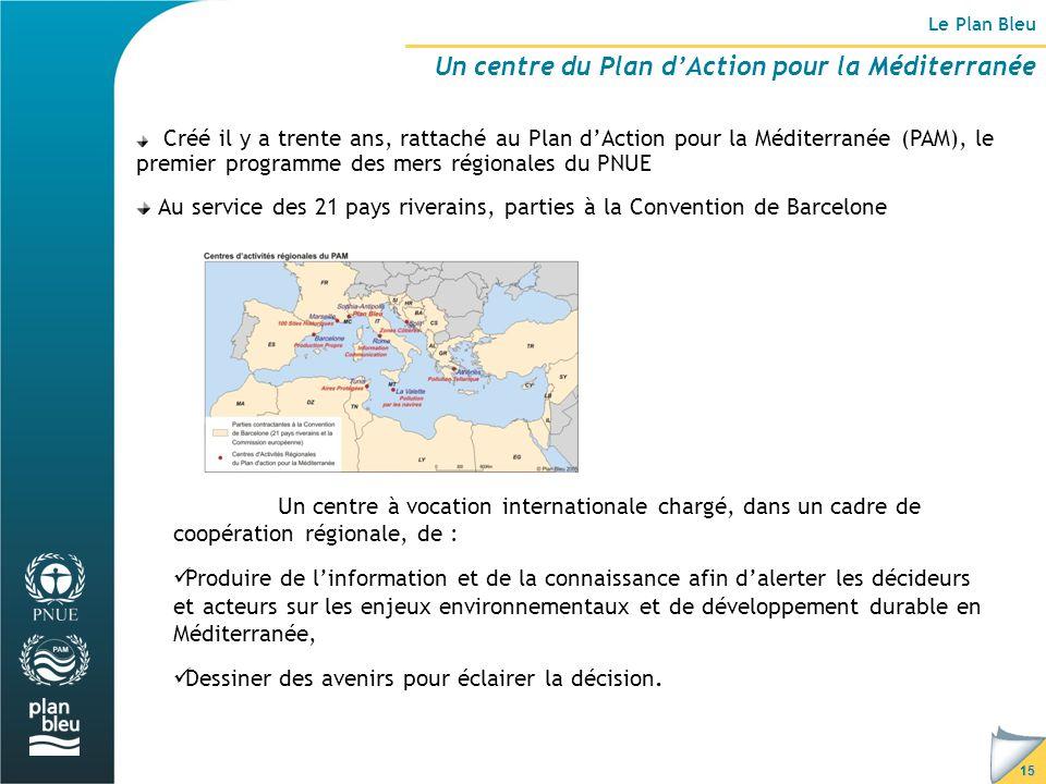 15 Le Plan Bleu Un centre du Plan d'Action pour la Méditerranée Créé il y a trente ans, rattaché au Plan d'Action pour la Méditerranée (PAM), le premier programme des mers régionales du PNUE Au service des 21 pays riverains, parties à la Convention de Barcelone Un centre à vocation internationale chargé, dans un cadre de coopération régionale, de : Produire de l'information et de la connaissance afin d'alerter les décideurs et acteurs sur les enjeux environnementaux et de développement durable en Méditerranée, Dessiner des avenirs pour éclairer la décision.