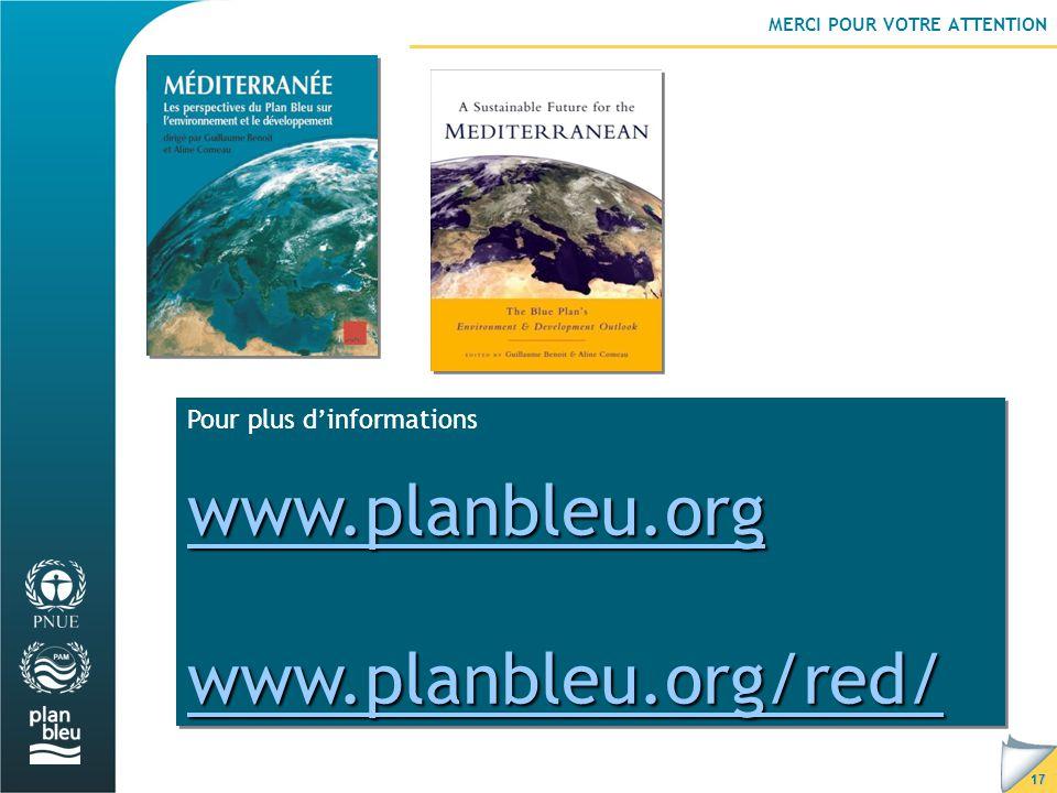 17 MERCI POUR VOTRE ATTENTION Pour plus d'informations www.planbleu.org www.planbleu.org/red/ Pour plus d'informations www.planbleu.org www.planbleu.org/red/