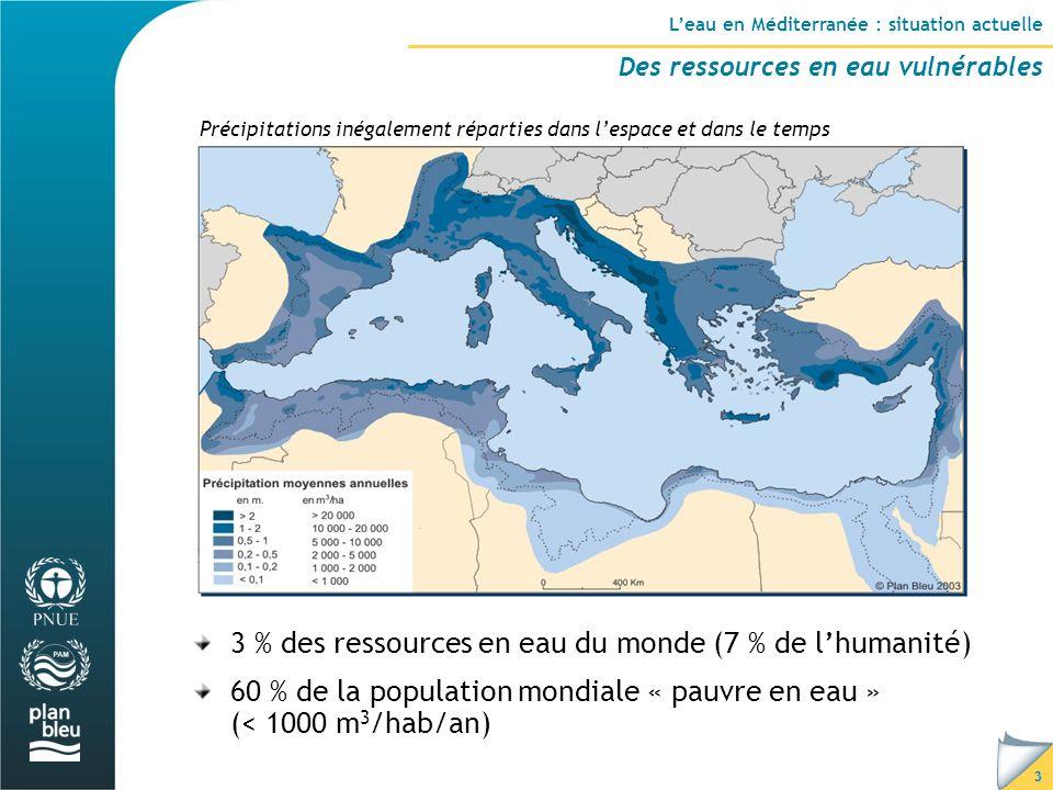 3 L'eau en Méditerranée : situation actuelle Des ressources en eau vulnérables Précipitations inégalement réparties dans l'espace et dans le temps 3 % des ressources en eau du monde (7 % de l'humanité) 60 % de la population mondiale « pauvre en eau » (< 1000 m 3 /hab/an)