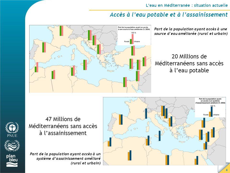 4 L'eau en Méditerranée : situation actuelle Accès à l'eau potable et à l'assainissement Part de la population ayant accès à une source d eau améliorée (rural et urbain) Part de la population ayant accès à un système d'assainissement amélioré (rural et urbain) 20 Millions de Méditerranéens sans accès à l'eau potable 47 Millions de Méditerranéens sans accès à l'assainissement