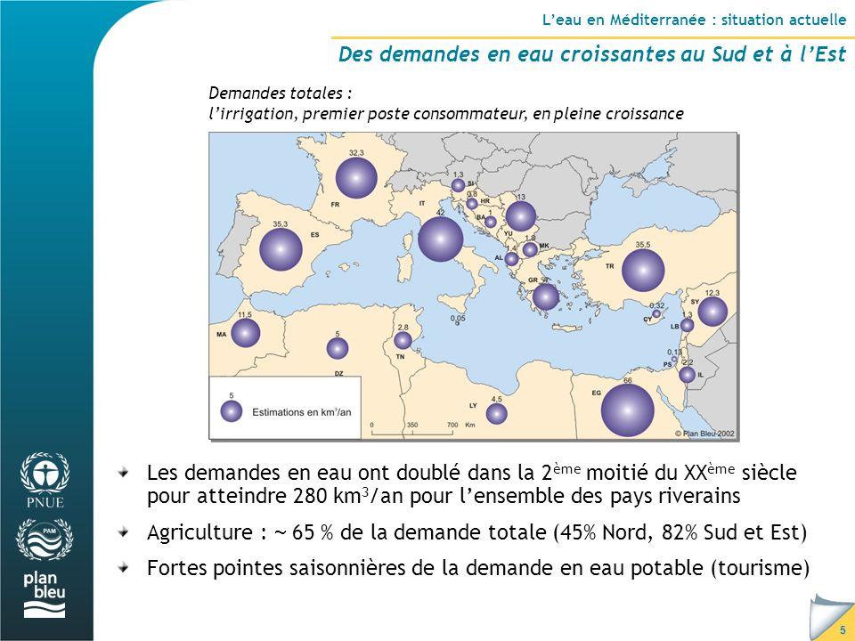 5 Demandes totales : l'irrigation, premier poste consommateur, en pleine croissance Les demandes en eau ont doublé dans la 2 ème moitié du XX ème siècle pour atteindre 280 km 3 /an pour l'ensemble des pays riverains Agriculture :  65 % de la demande totale (45% Nord, 82% Sud et Est) Fortes pointes saisonnières de la demande en eau potable (tourisme) L'eau en Méditerranée : situation actuelle Des demandes en eau croissantes au Sud et à l'Est