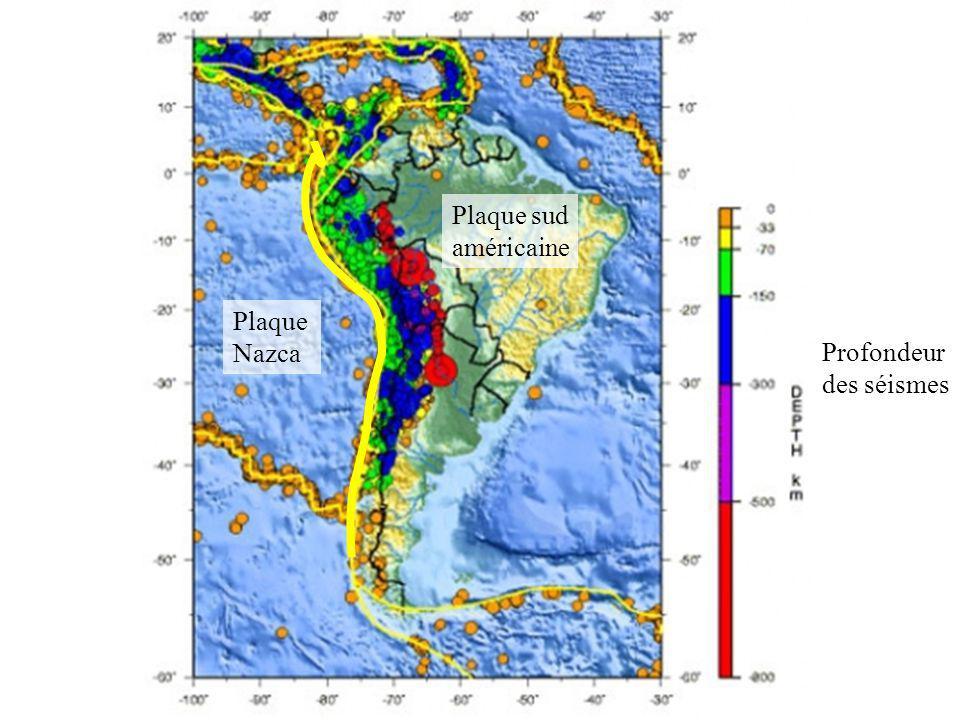 Profondeur des séismes Plaque Nazca Plaque sud américaine