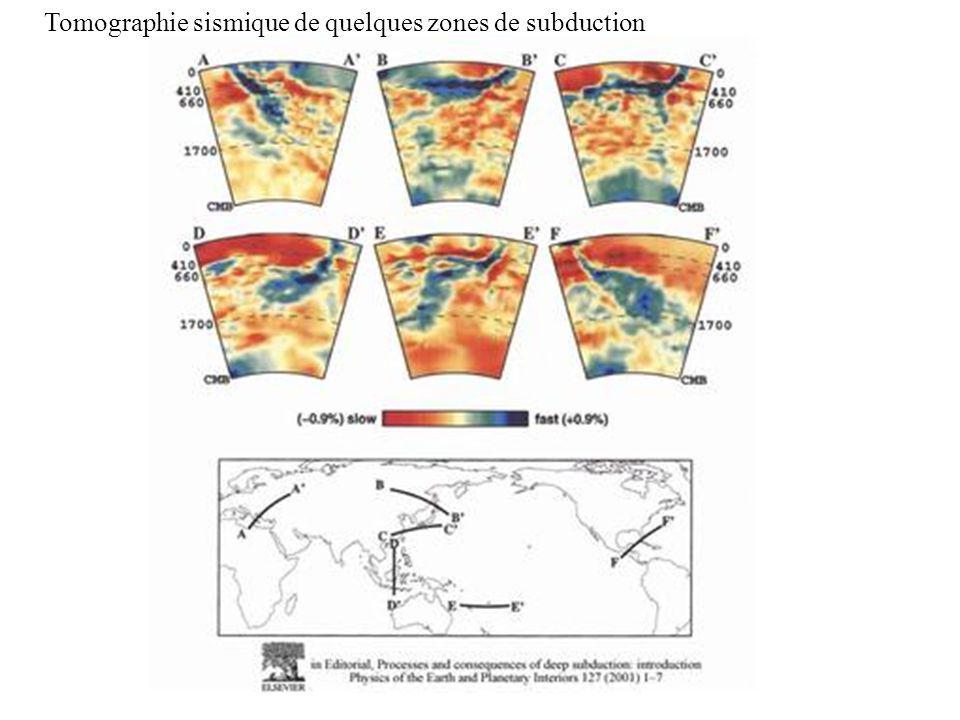 Tomographie sismique de quelques zones de subduction