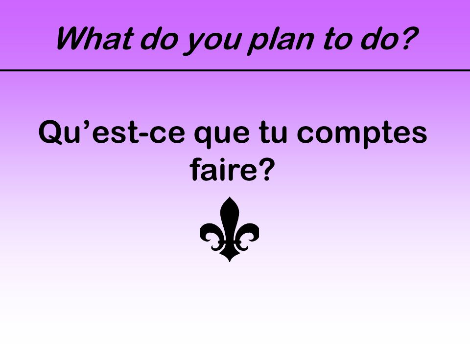What do you plan to do? Qu'est-ce que tu comptes faire?
