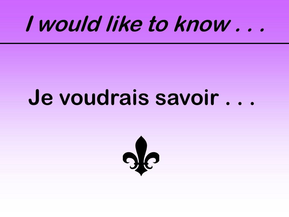 I would like to know... Je voudrais savoir...
