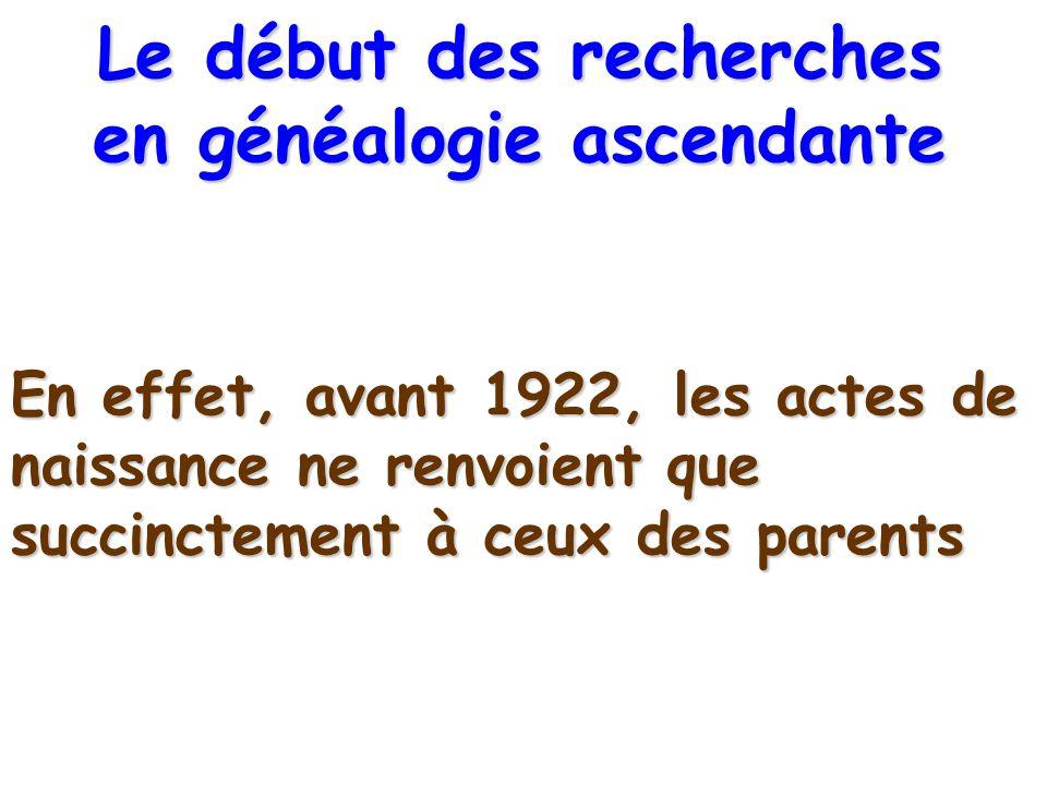 En effet, avant 1922, les actes de naissance ne renvoient que succinctement à ceux des parents Le début des recherches en généalogie ascendante