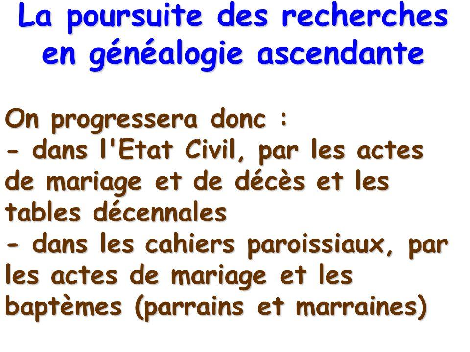 On progressera donc : - dans l'Etat Civil, par les actes de mariage et de décès et les tables décennales - dans les cahiers paroissiaux, par les actes