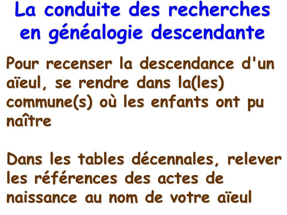 Pour recenser la descendance d'un aïeul, se rendre dans la(les) commune(s) où les enfants ont pu naître Dans les tables décennales, relever les référe