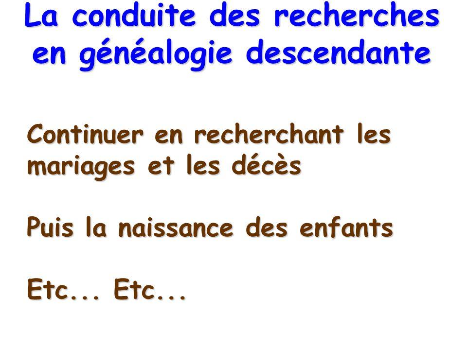 Continuer en recherchant les mariages et les décès Puis la naissance des enfants Etc... Etc... La conduite des recherches en généalogie descendante