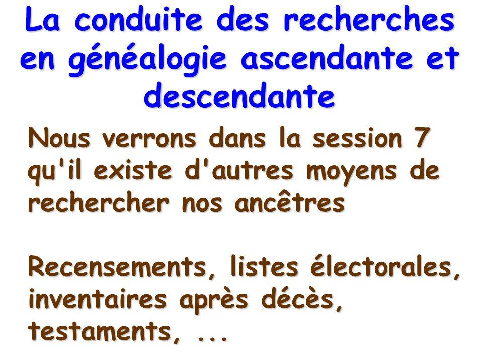 Nous verrons dans la session 7 qu'il existe d'autres moyens de rechercher nos ancêtres Recensements, listes électorales, inventaires après décès, test