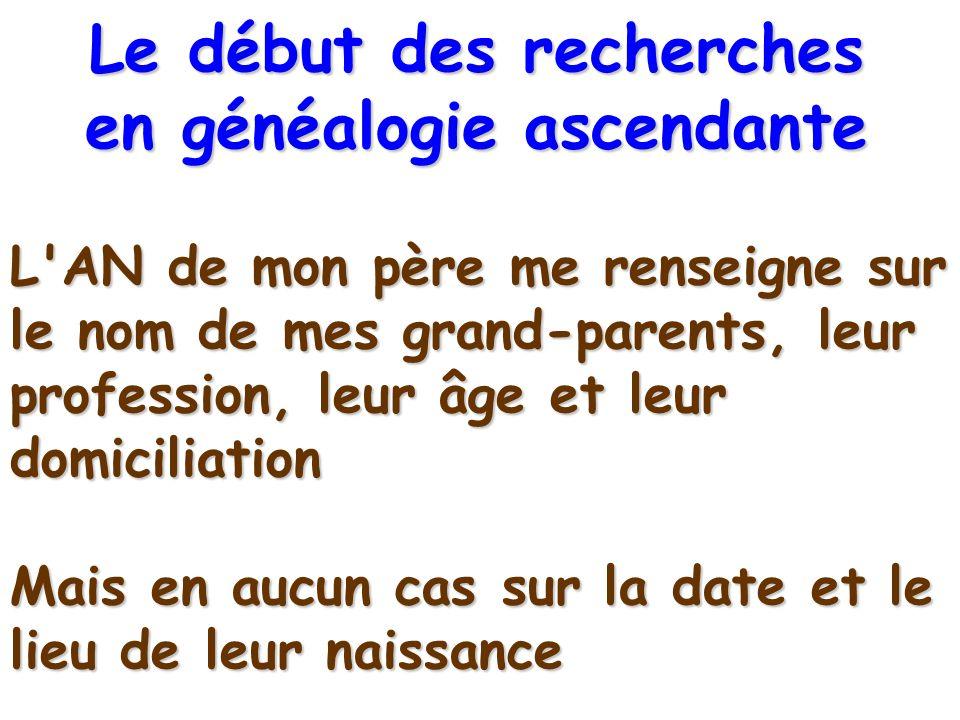 L'AN de mon père me renseigne sur le nom de mes grand-parents, leur profession, leur âge et leur domiciliation Mais en aucun cas sur la date et le lie