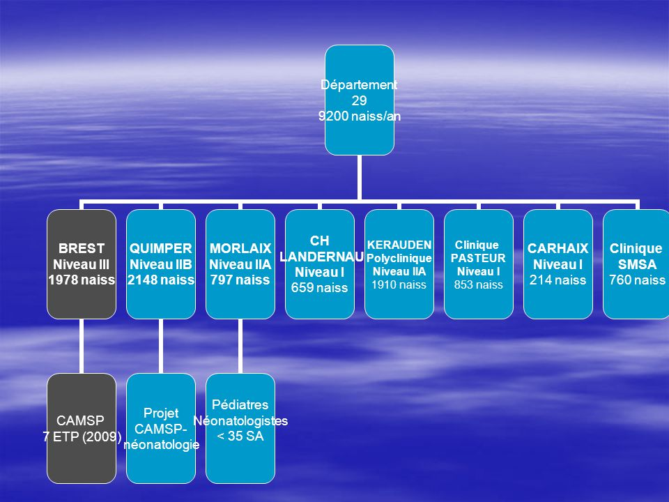 Département 29 9200 naiss/an BREST Niveau III 1978 naiss CAMSP 7 ETP (2009) QUIMPER Niveau IIB 2148 naiss Projet CAMSP- néonatologie MORLAIX Niveau II
