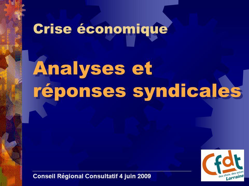 Crise économique Analyses et réponses syndicales Conseil Régional Consultatif 4 juin 2009