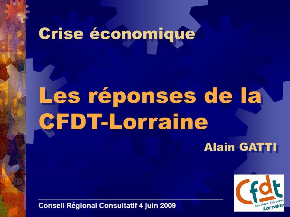 Crise économique Les réponses de la CFDT-Lorraine Conseil Régional Consultatif 4 juin 2009 Alain GATTI