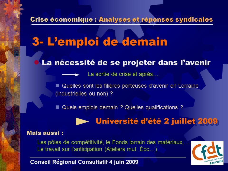 Crise économique : Analyses et réponses syndicales Conseil Régional Consultatif 4 juin 2009 3- L'emploi de demain La nécessité de se projeter dans l'avenir Quelles sont les filières porteuses d'avenir en Lorraine (industrielles ou non) .