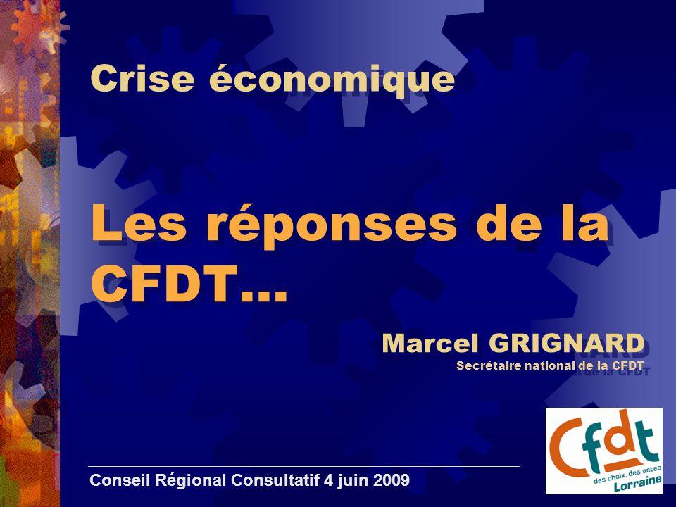 Crise économique Les réponses de la CFDT… Conseil Régional Consultatif 4 juin 2009 Marcel GRIGNARD Secrétaire national de la CFDT
