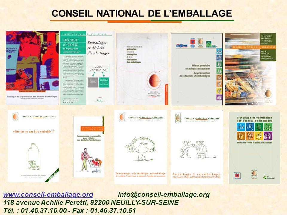 CONSEIL NATIONAL DE L'EMBALLAGE www.conseil-emballage.org info@conseil-emballage.org 118 avenue Achille Peretti, 92200 NEUILLY-SUR-SEINE Tél. : 01.46.