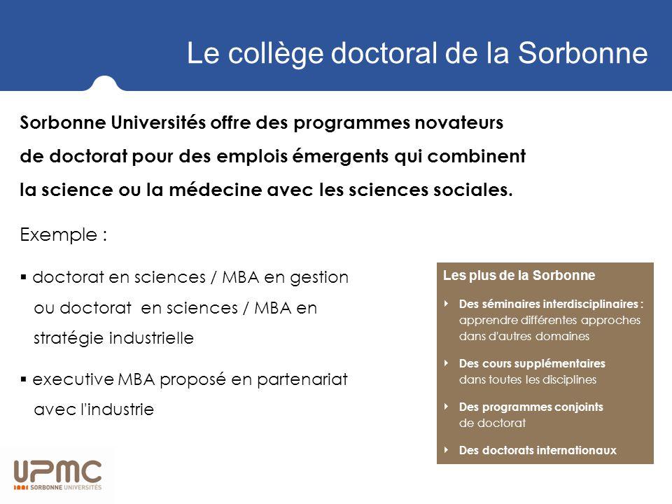 Le collège doctoral de la Sorbonne Sorbonne Universités offre des programmes novateurs de doctorat pour des emplois émergents qui combinent la science ou la médecine avec les sciences sociales.