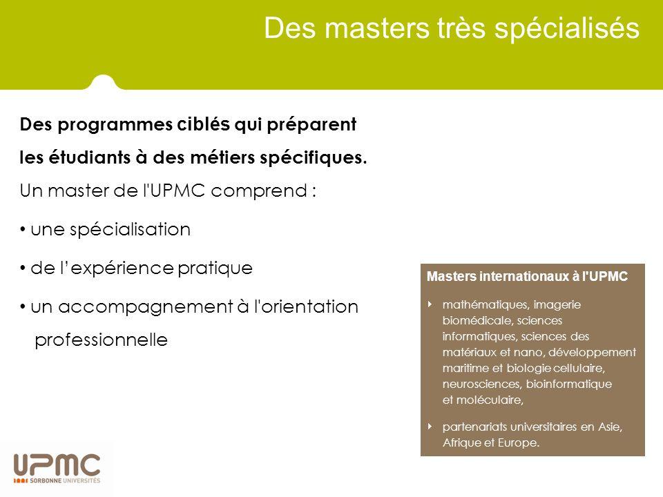 Des masters très spécialisés Des programmes ciblés qui préparent les étudiants à des métiers spécifiques.