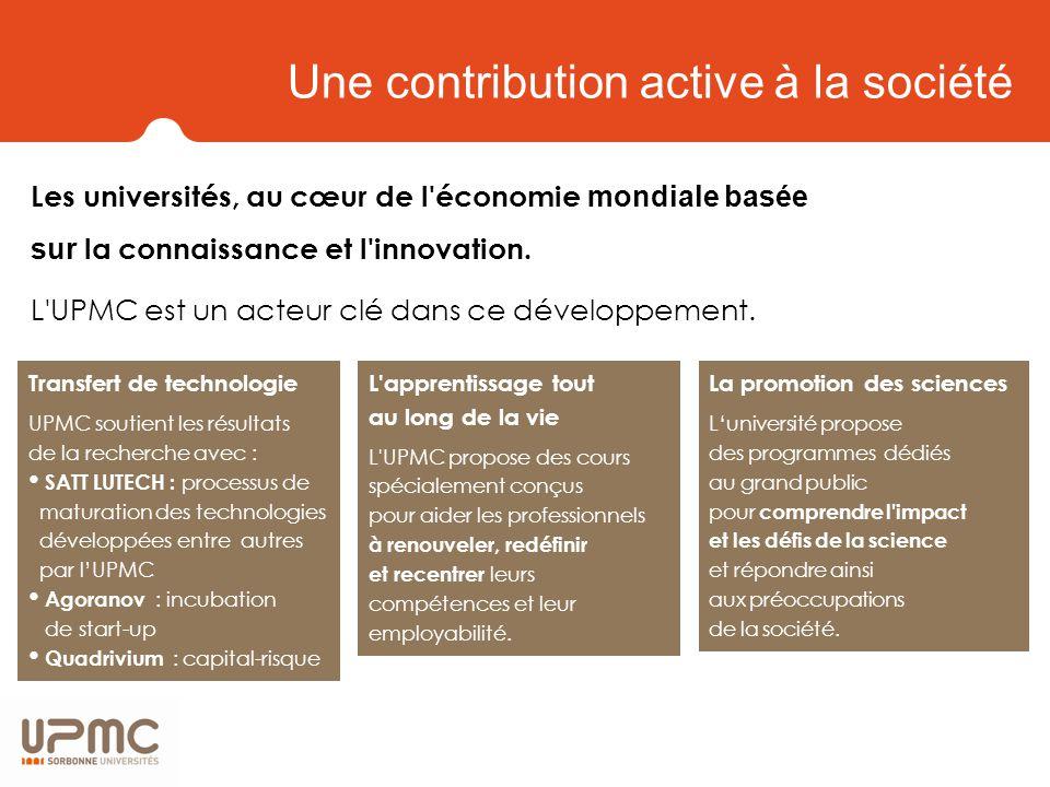 Une contribution active à la société Les universités, au cœur de l économie mondiale basée sur la connaissance et l innovation.