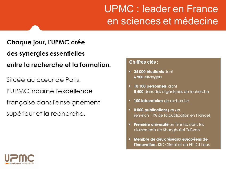 Une scolarité riche en expériences Les 34 000 étudiants de l UPMC viennent de toute la France à 80%.