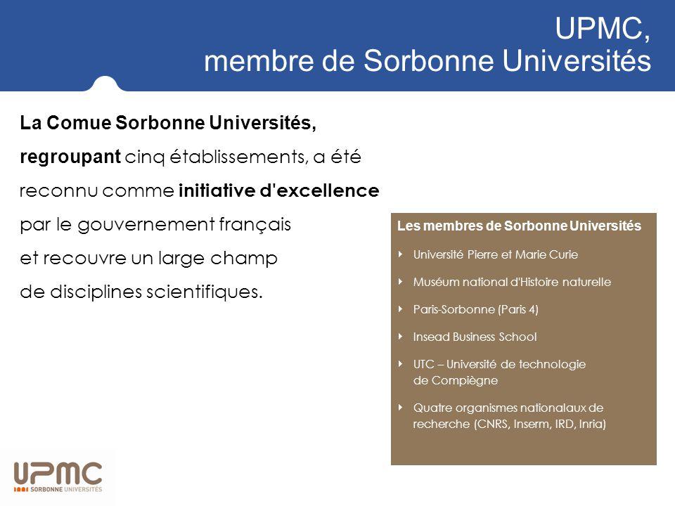 UPMC, membre de Sorbonne Universités La Comue Sorbonne Universités, regroupant cinq établissements, a été reconnu comme initiative d excellence par le gouvernement français et recouvre un large champ de disciplines scientifiques.