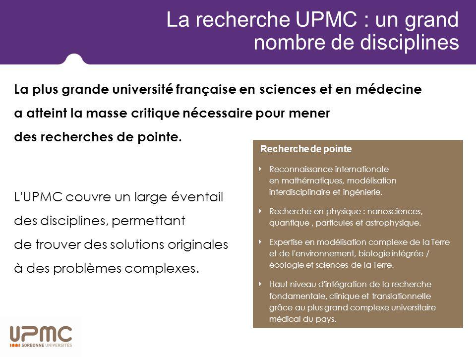 Une politique de la recherche pour le 21 e siècle L'UPMC explore les enjeux majeurs du développement durable dans les domaines de la santé, du changement climatique, de l eau, de la biodiversité, de l énergie et des communications.