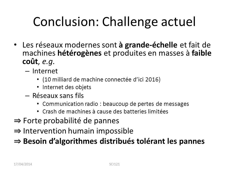Conclusion: Challenge actuel Les réseaux modernes sont à grande-échelle et fait de machines hétérogènes et produites en masses à faible coût, e.g.