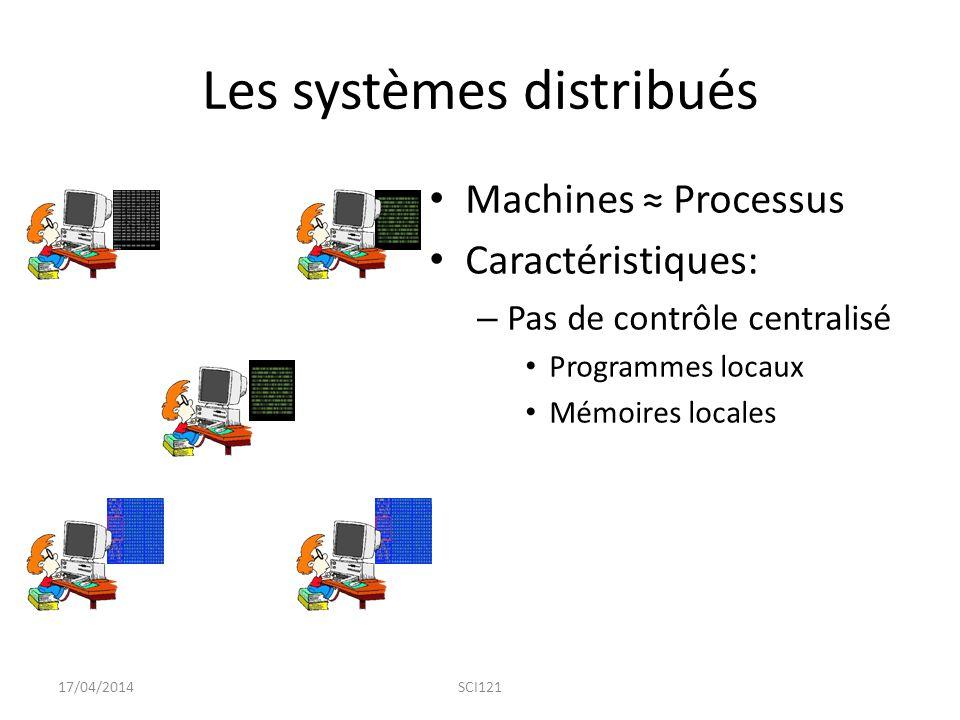 Les systèmes distribués Machines ≈ Processus Caractéristiques: – Pas de contrôle centralisé Programmes locaux Mémoires locales 17/04/2014SCI121