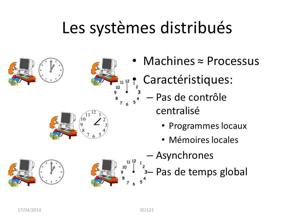 Les systèmes distribués Machines ≈ Processus Caractéristiques: – Pas de contrôle centralisé Programmes locaux Mémoires locales – Asynchrones – Pas de temps global 17/04/2014SCI121