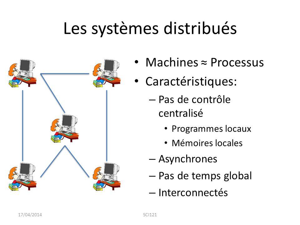 Les systèmes distribués Machines ≈ Processus Caractéristiques: – Pas de contrôle centralisé Programmes locaux Mémoires locales – Asynchrones – Pas de temps global – Interconnectés 17/04/2014SCI121