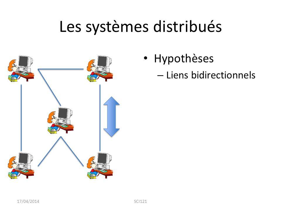 Les systèmes distribués Hypothèses – Liens bidirectionnels 17/04/2014SCI121