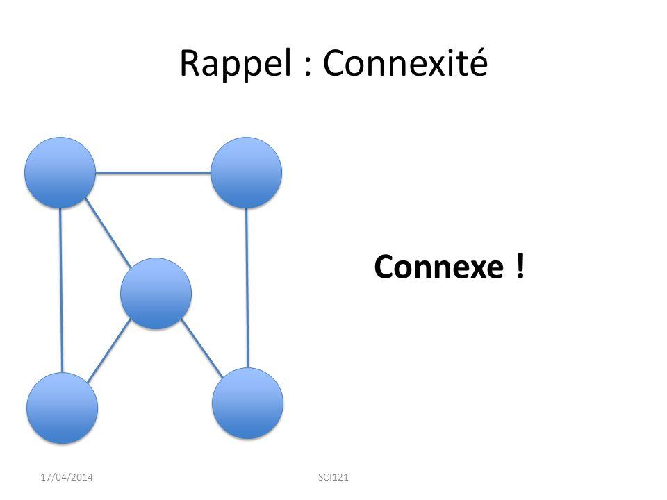Rappel : Connexité Connexe ! 17/04/2014SCI121