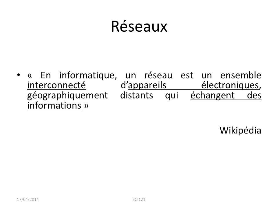 Réseaux 17/04/2014SCI121 « En informatique, un réseau est un ensemble interconnecté d'appareils électroniques, géographiquement distants qui échangent des informations » Wikipédia