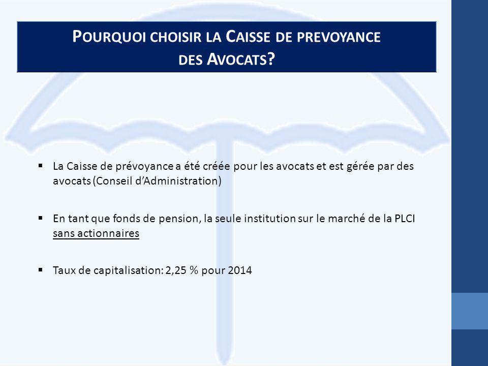 P OURQUOI CHOISIR LA C AISSE DE PREVOYANCE DES A VOCATS .