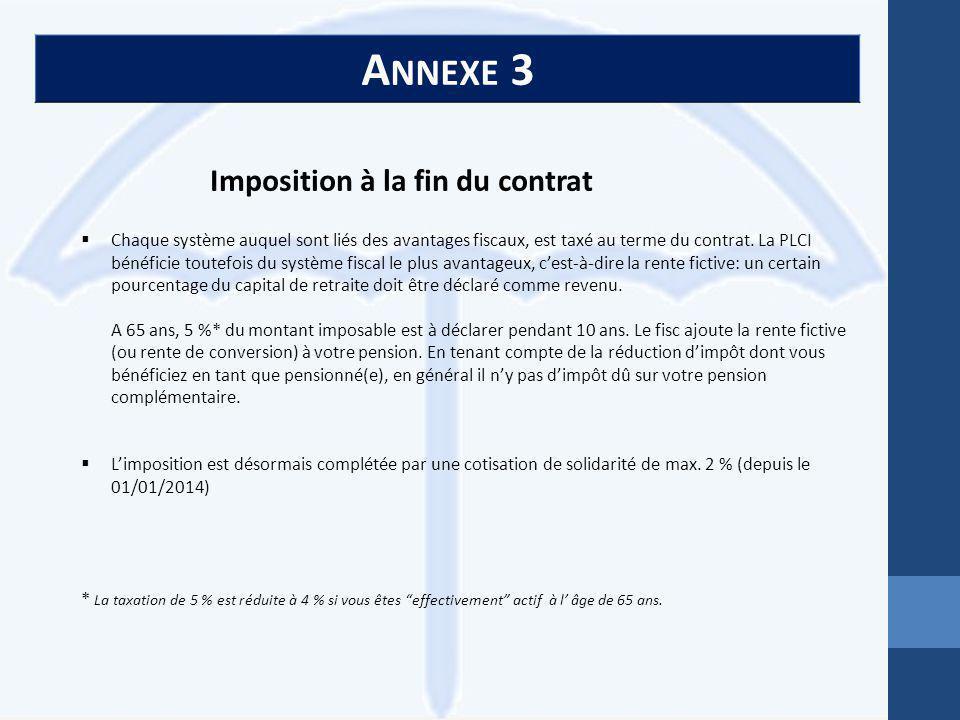 A NNEXE 3 Imposition à la fin du contrat  Chaque système auquel sont liés des avantages fiscaux, est taxé au terme du contrat.