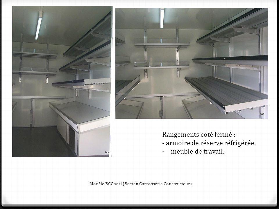 Rangements côté fermé : - armoire de réserve réfrigérée.