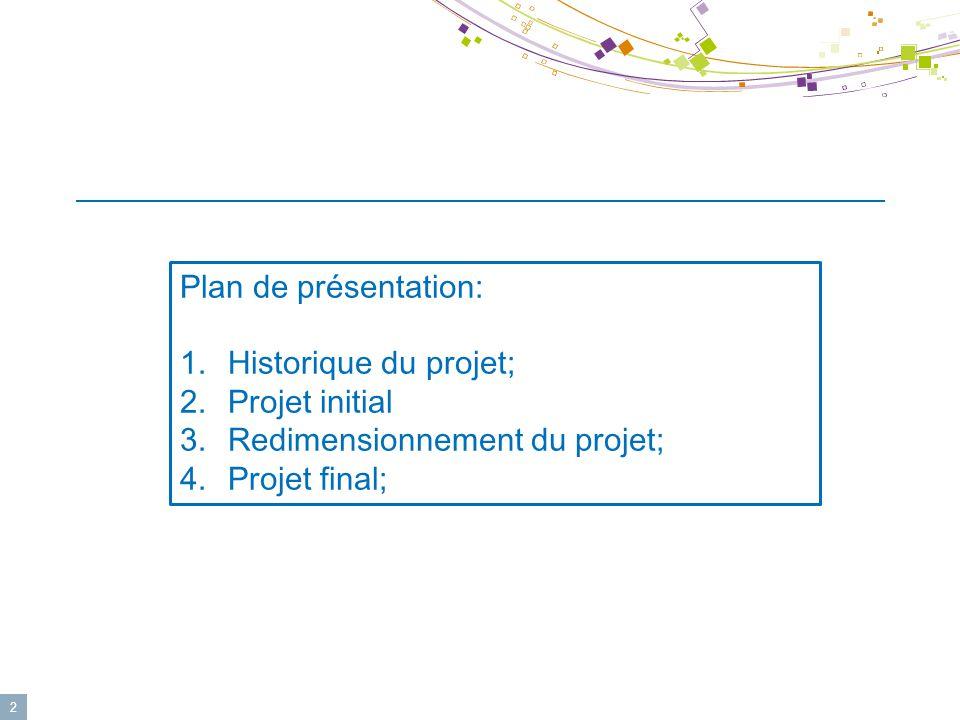 2 Plan de présentation: 1.Historique du projet; 2.Projet initial 3.Redimensionnement du projet; 4.Projet final;