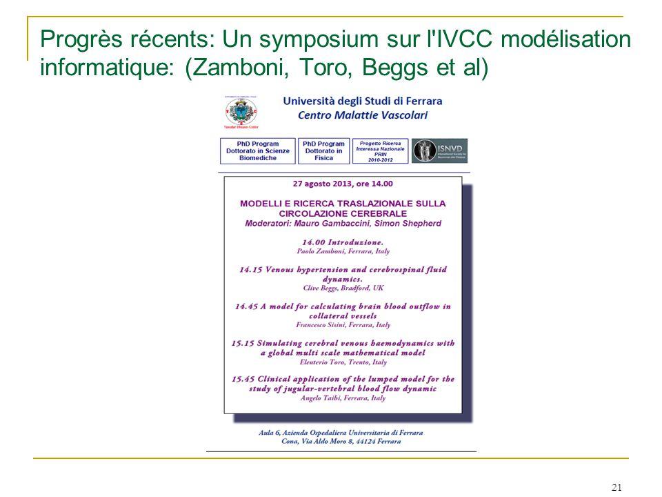 Progrès récents: Un symposium sur l'IVCC modélisation informatique: (Zamboni, Toro, Beggs et al) 21