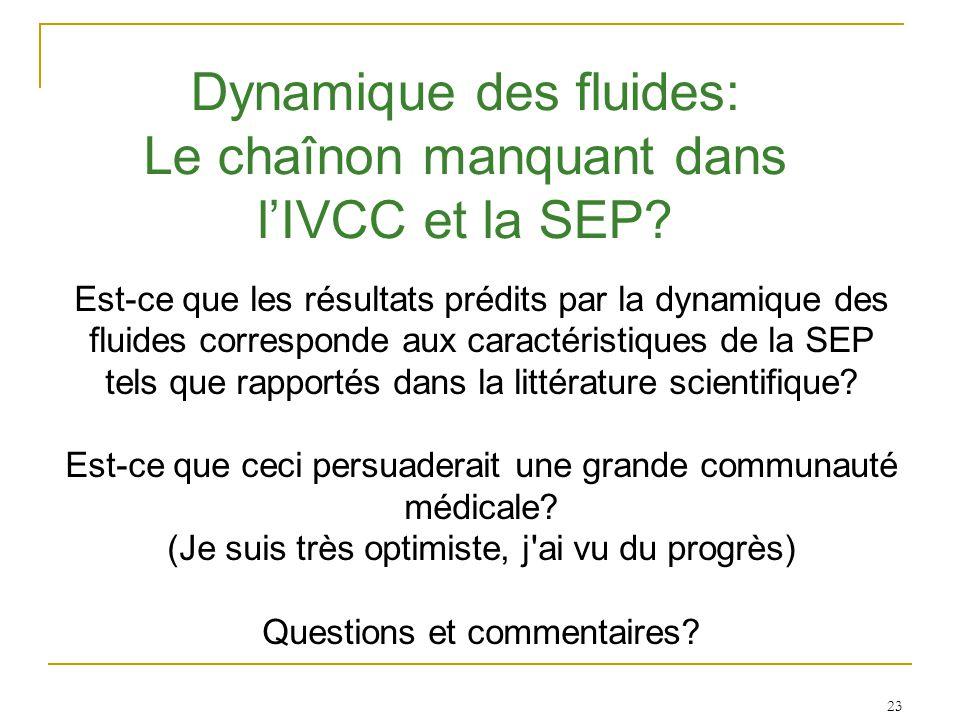 Est-ce que les résultats prédits par la dynamique des fluides corresponde aux caractéristiques de la SEP tels que rapportés dans la littérature scientifique.