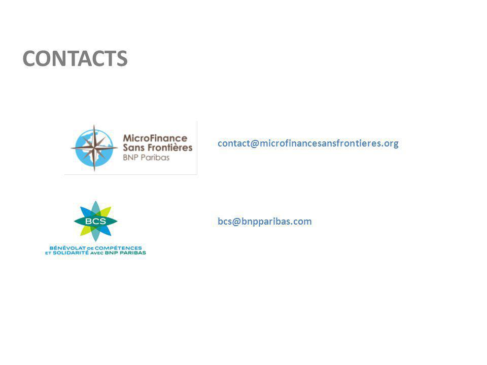 CONTACTS contact@microfinancesansfrontieres.org bcs@bnpparibas.com