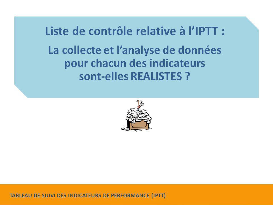 Liste de contrôle relative à l'IPTT : La collecte et l'analyse de données pour chacun des indicateurs sont-elles REALISTES ? TABLEAU DE SUIVI DES INDI