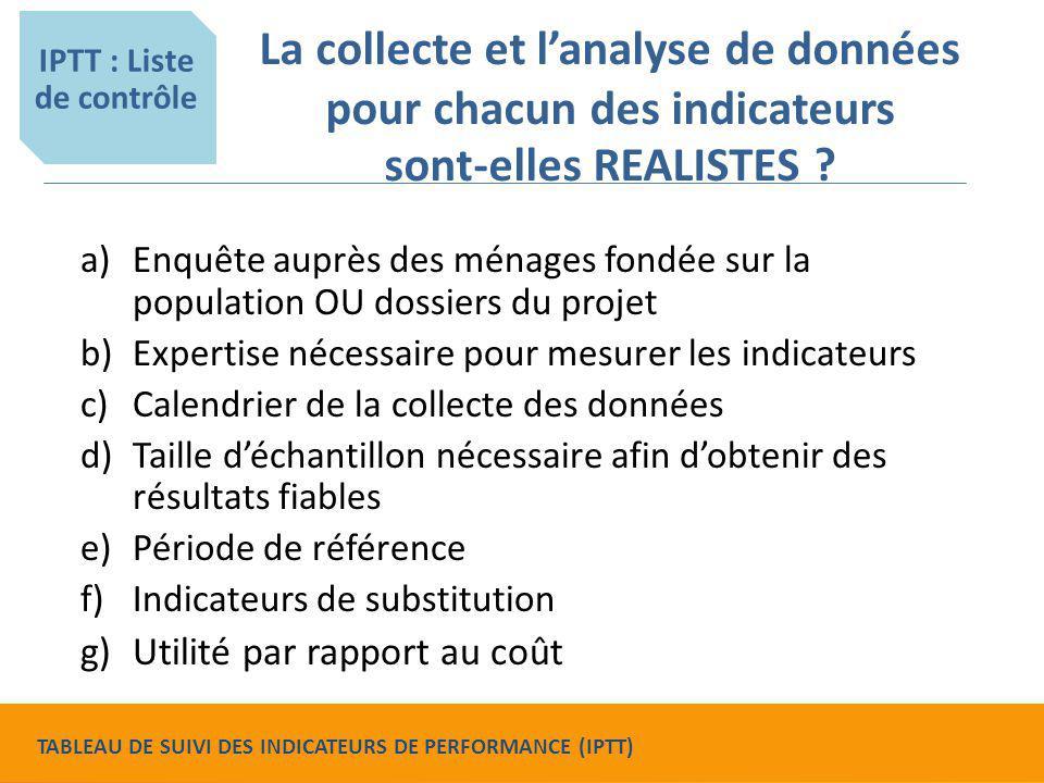 La collecte et l'analyse de données pour chacun des indicateurs sont-elles REALISTES ? a)Enquête auprès des ménages fondée sur la population OU dossie