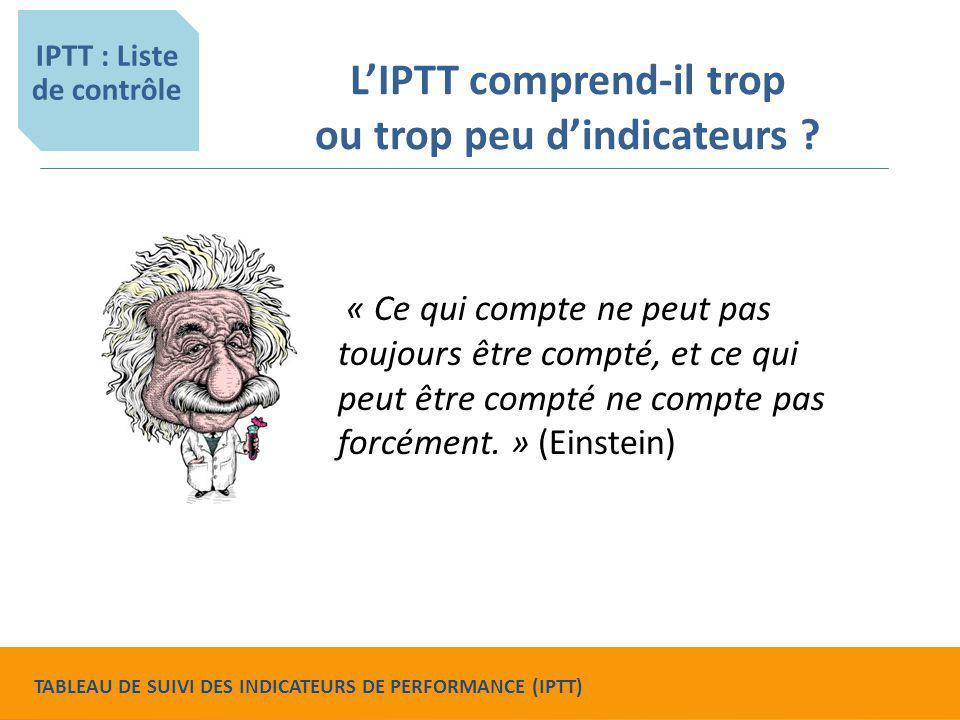 L'IPTT comprend-il trop ou trop peu d'indicateurs ? « Ce qui compte ne peut pas toujours être compté, et ce qui peut être compté ne compte pas forcéme