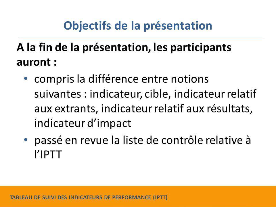 Objectifs de la présentation A la fin de la présentation, les participants auront : compris la différence entre notions suivantes : indicateur, cible,