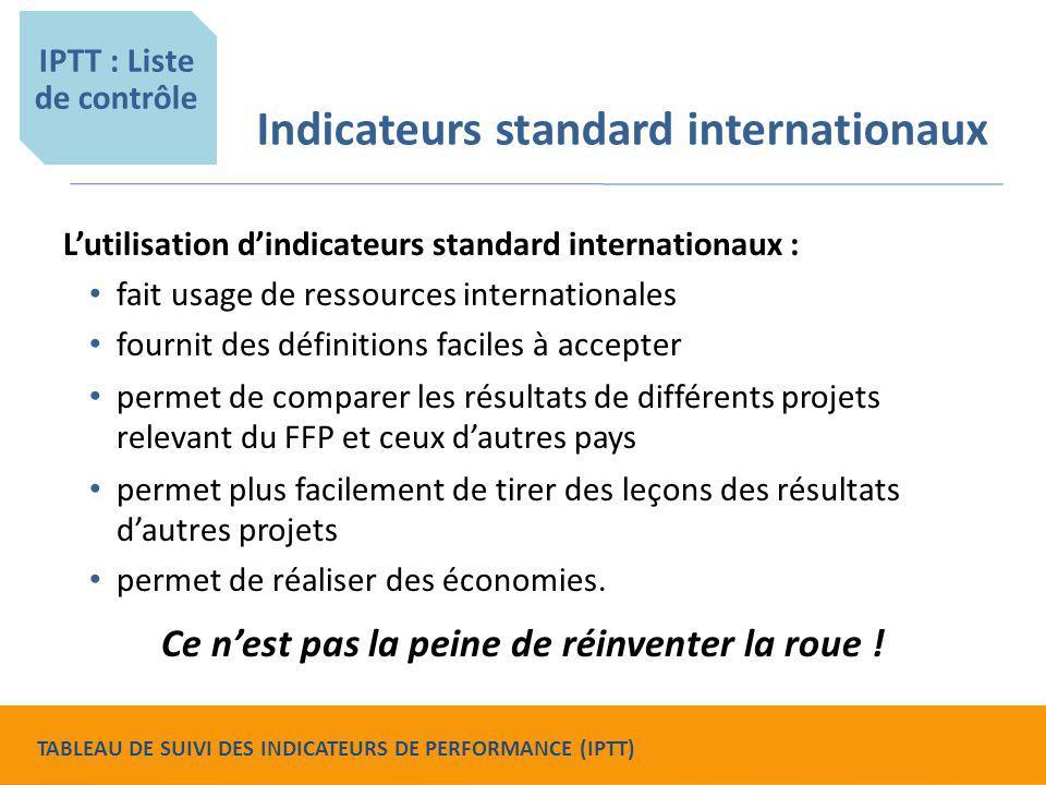 Indicateurs standard internationaux L'utilisation d'indicateurs standard internationaux : fait usage de ressources internationales fournit des définit